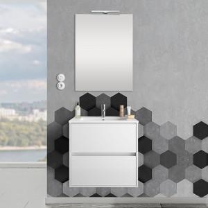 Mobile sospeso 70 cm Mavi 2 cassetti bianco lucido con lavabo e specchio