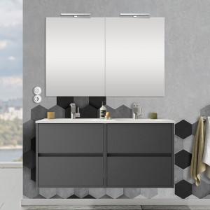 Mobile bagno sospeso 120 cm Mavi grigio grafite 4 cassetti