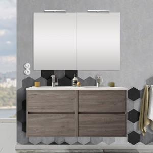 Mobile bagno 120 cm con 4 cassetti, doppio lavabo e specchio Mavi rovere corteccia
