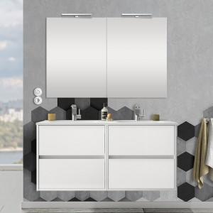 Mobile bagno sospeso 120 cm Mavi con 4 cassetti bianco lucido