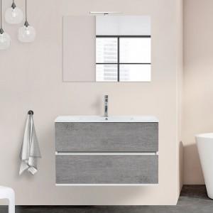 Mobile Duble sospeso 90 cm 2 cassetti grigio industrial lavabo e specchio