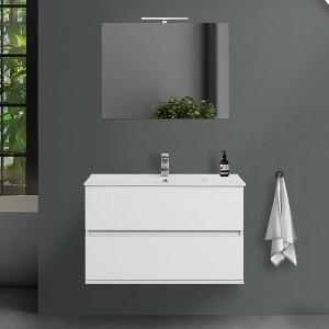 Mobile sospeso Duble 90 cm 2 cassetti bianco lucido lavabo e specchio