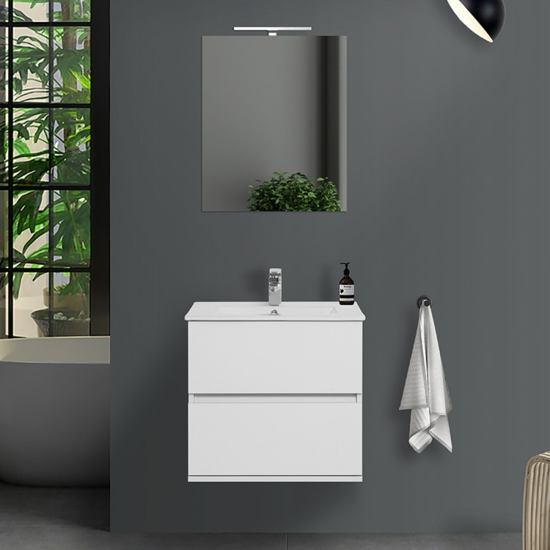 Mobile bagno sospeso Duble 60 cm 2 cassetti bianco lucido con specchio