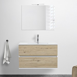 Mobile sospeso Duble 90 cm 2 cassetti rovere africa  lavabo e specchio