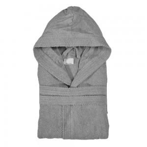 Accappatoio 100% cotone grigio taglia S con cappuccio tasche e cintura