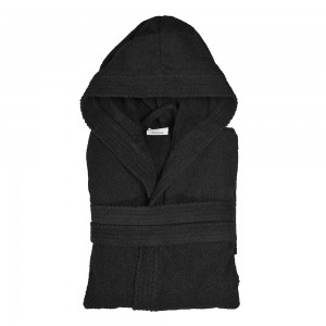 Accappatoio in 100% cotone taglia M nero con cappuccio tasche e cintura