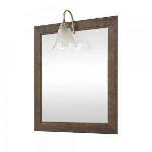 Specchio con cornice in legno massello 70x90 cm noce con lampada