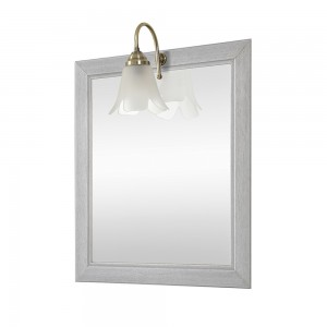Specchio con cornice in legno massello 60x70 cm bianco shabby e lampada inclusa