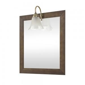 Specchio con cornice  in legno massello 60x70 cm  noce lampada inclusa