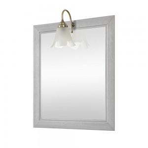 Specchio con cornice in legno + lampada 70x90 bianco shabby