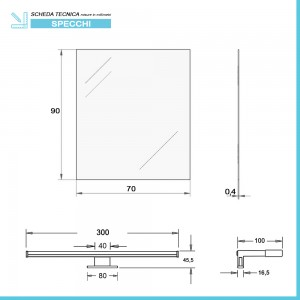 Specchio filo lucido reversibile 70x90 cm