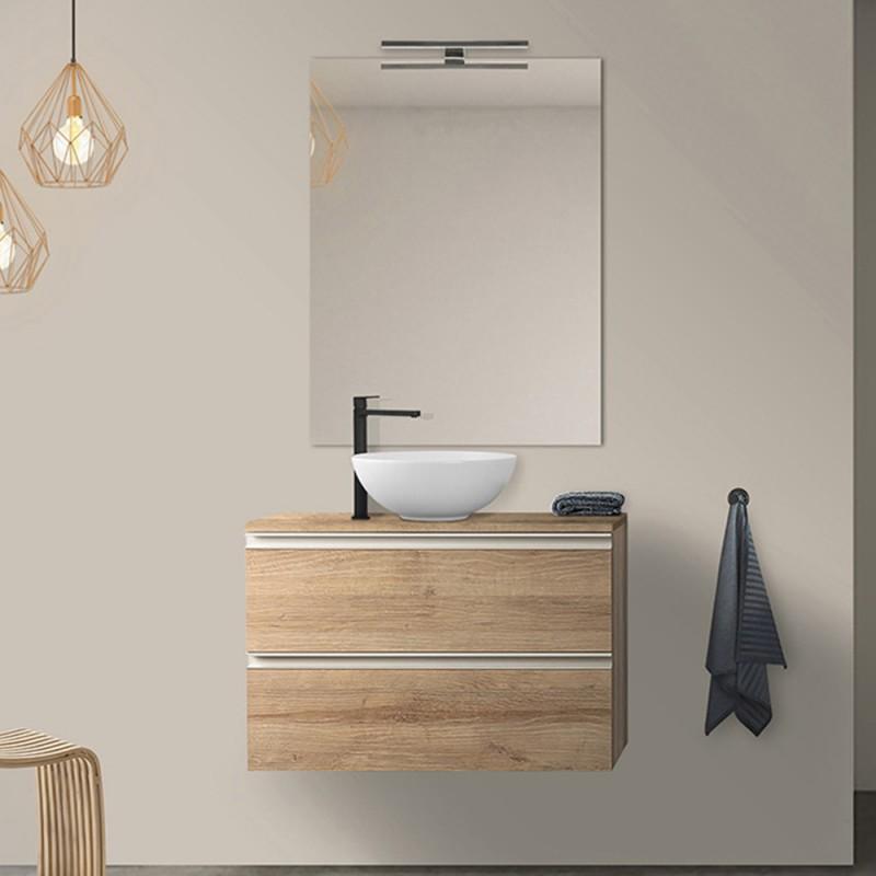Mobile bagno sospeso 80 cm linea Master rovere miele per lavabi da appoggio