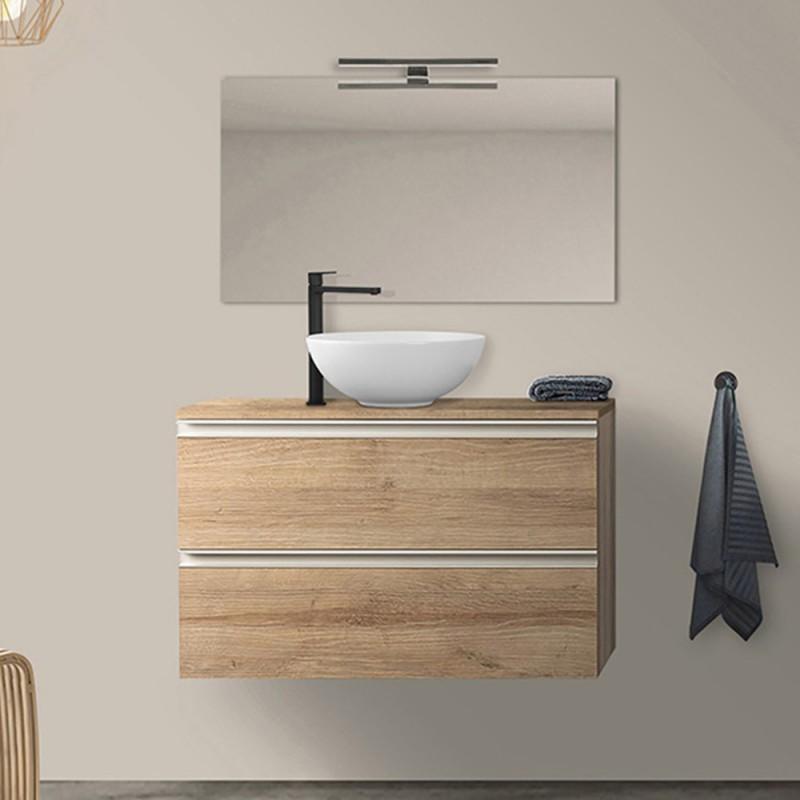 Mobile da bagno Sospeso 100 cm Master rovere miele per lavabo da appoggio