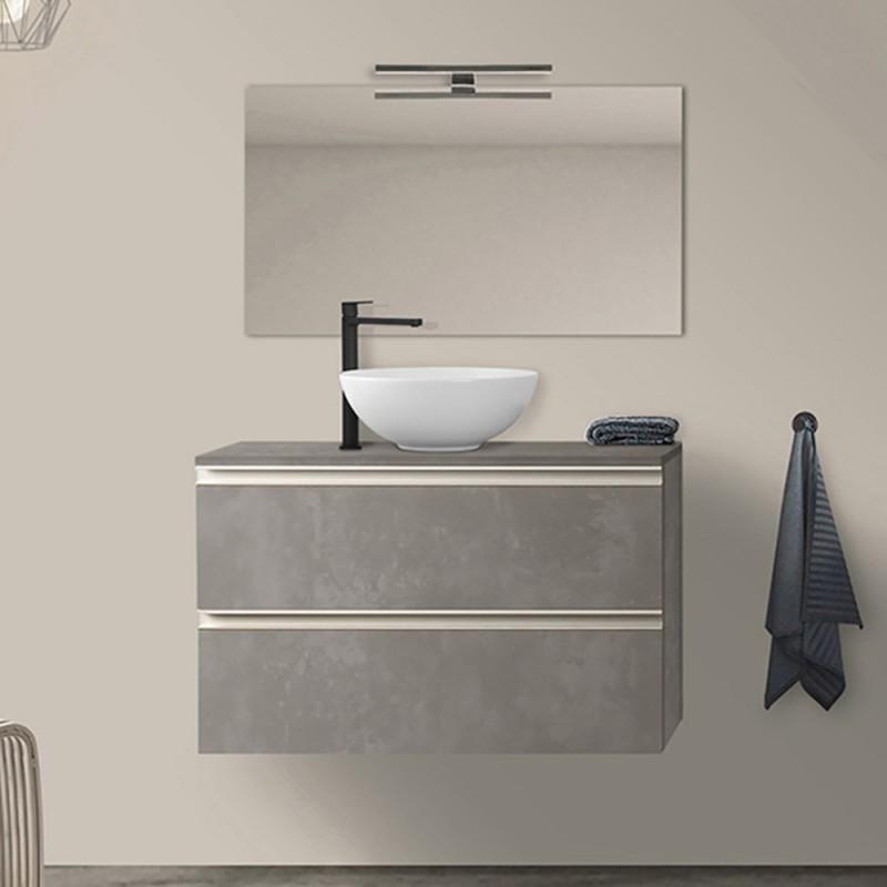 Arredo bagno sospeso 100 cm Master grigio effetto cemento con top e specchio
