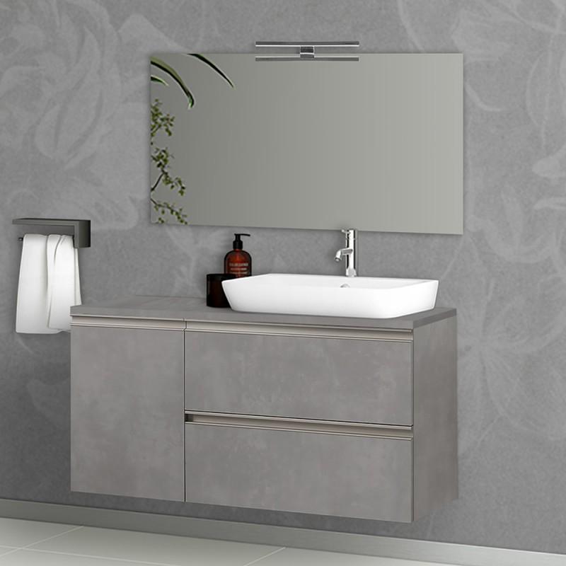 Mobile da bagno sospeso 120 cm Master grigio cemento 2 cassetti e 1 anta