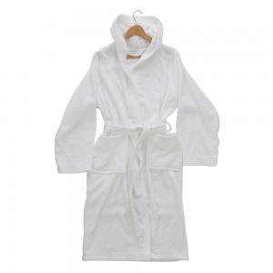 Accappatoio Con Cappuccio Cintura e Tasche Taglia S Bianco
