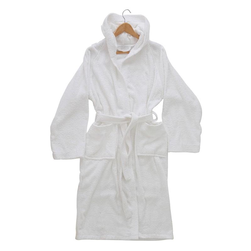 Accappatoio Cappuccio Cintura Tasche M Bianco