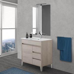 Mobile bagno da terra 80 cm linea Way rovere chiaro con specchio e lavabo