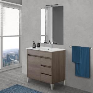 Mobile bagno da terra 80 cm linea Way rovere scuro con specchio e lavabo