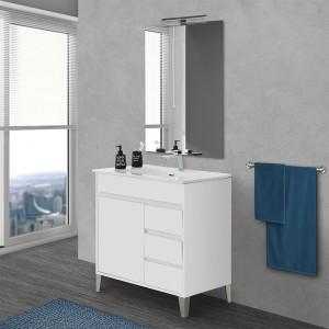 Mobile bagno a terra da 80 cm linea Way bianco lucido con specchio e lavabo
