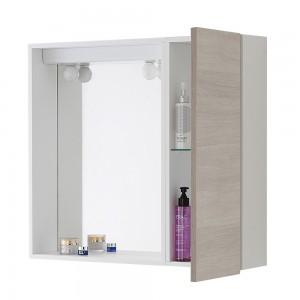 Specchio bagno contenitore 1 anta Way 67x60 cm rovere chiaro