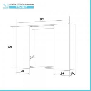 Disegno tecnico Specchiera contenitore bagno linea Way 2 ante 60x90 cm rovere scuro