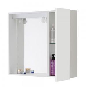 Specchiera con contenitore per bagno 1 anta bianco lucido