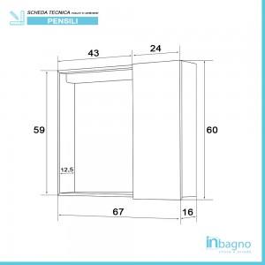 Scheda tecnica Specchiera contenitore bagno linea Way 1 anta 67x60 cm bianco lucido