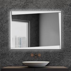 Specchio bagno LED 80x60cm reversibile con fasce luminose