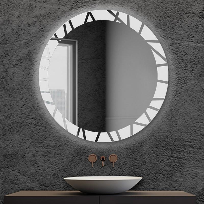 Specchio bagno retroilluminato LED Diam. 80 cm con cornice decorata