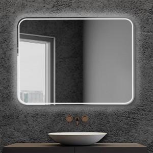 Specchio per bagno 90x70 cm stondato completo di cornice slim a LED