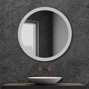 Specchio da bagno serigrafato tondo con telaio Diam. 80 cm