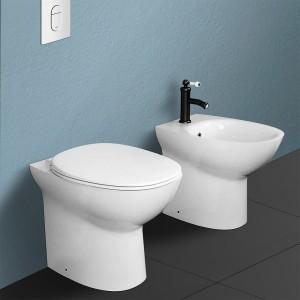 Coppia sanitari filomuro Morning WC rimless + bidet + copriwc rallenty