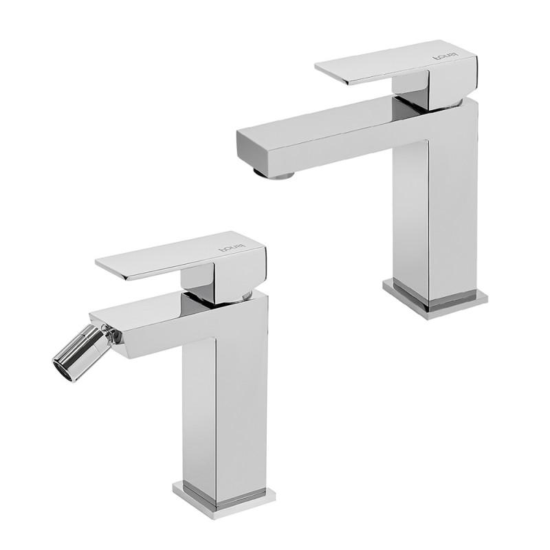 Set 2 Miscelatori con lavabo + bidet cromati serie italia