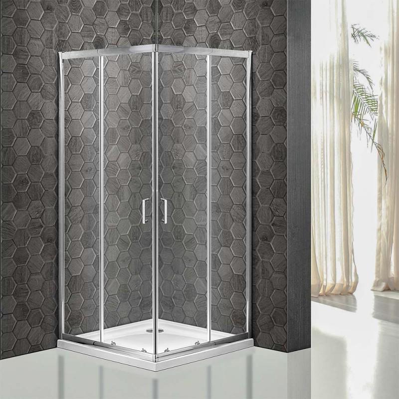 Box doccia 70x120 cm serie Icon doppio scorrevole vetro trasparente H 195 cm