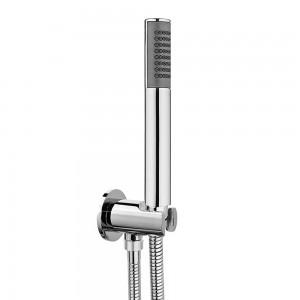 Set doccia tondo cromo con doccino ABS, presa acqua e flessibile in acciaio 150 cm