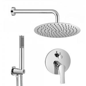 Set doccia tondo  Flat cromo braccio 40 cm + soffione 20 cm + miscelatore e kit doccia