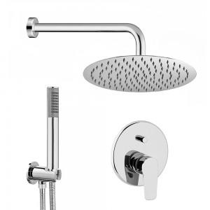 Set doccia tondo Eco + braccio 40 cm + soffione 25 cm + miscelatore + kit doccia