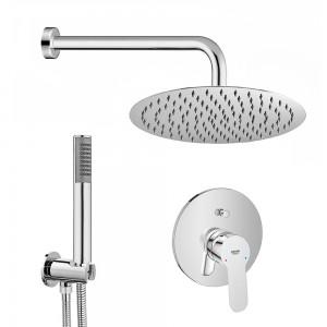 Set doccia tondo cromo Bauedge braccio 40 cm + soffione 25 cm + kit doccia e Miscelatore