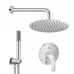 Set doccia tondo Eurosmart braccio 40 cm + soffione 25 cm + kit doccia + miscelatore