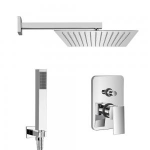 Set doccia quadrato Quatra braccio 40 cm + soffione 25x25 cm + kit doccia + miscelatore