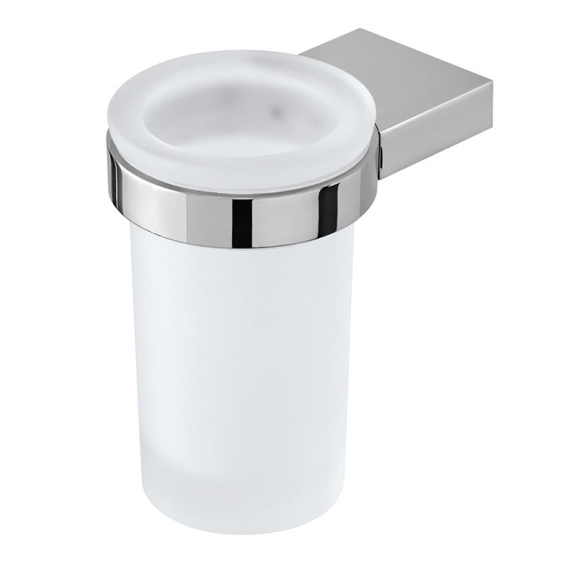 Porta Spazzolino Tondo In Vetro Satinato E Metallo Cromato