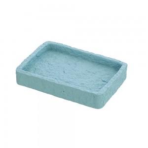 Portasapone da appoggio in poliresina effetto sabbia turchese pastello