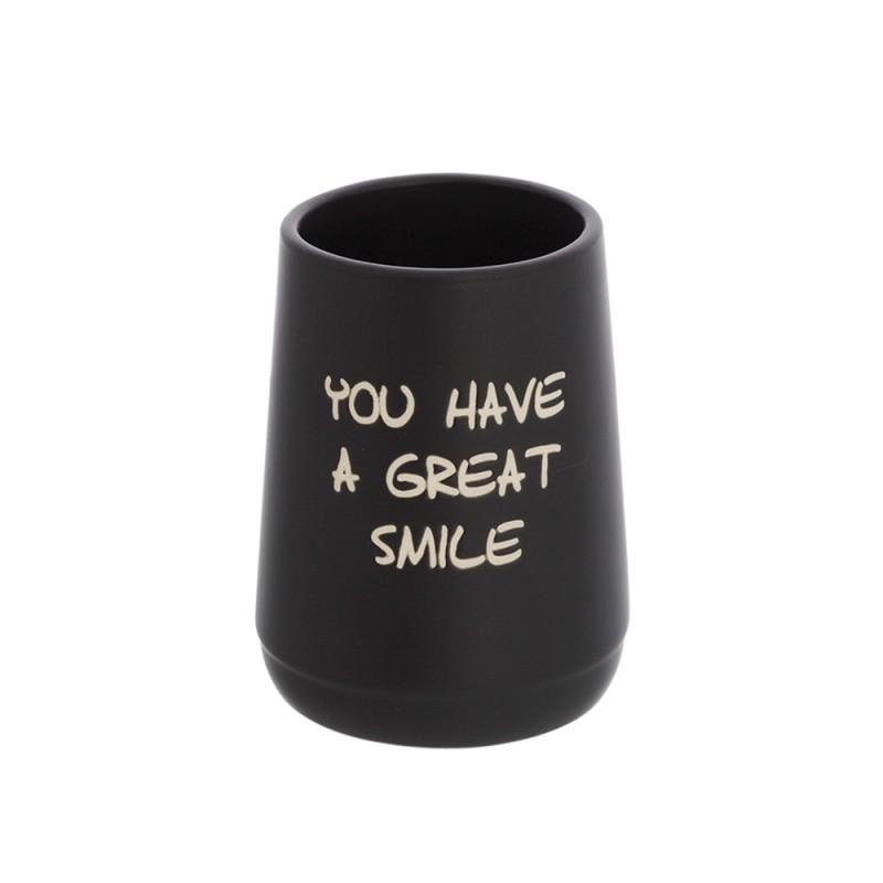 Bicchiere Portaspazzolino linea Wash da appoggio nero opaco con scritte