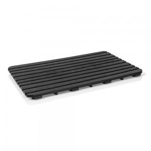 Pedana Doccia antiscivolo 80x50 cm nero con effetto legno in PP
