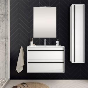 Mobile bagno sospeso 80 cm serie Nilo bianco lucido con colonna sospesa