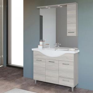 Mobile bagno da terra 105 cm rovere grigio completo di specchio con pensile e LED