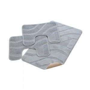 Parure Bagno 100% Polipropilene con Antiscivolo Onda Grigio 50x80, 50x40, 50x40