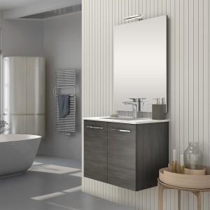 Mobile bagno sospeso linea Zenit 61 cm 2 ante rovere scuro lavabo + specchio