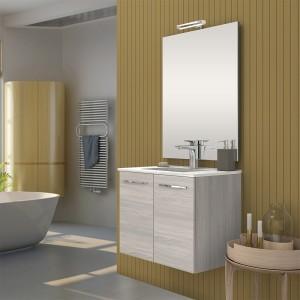 Mobile bagno sospeso linea Zenit 61 cm 2 ante rovere grigio lavabo + specchio